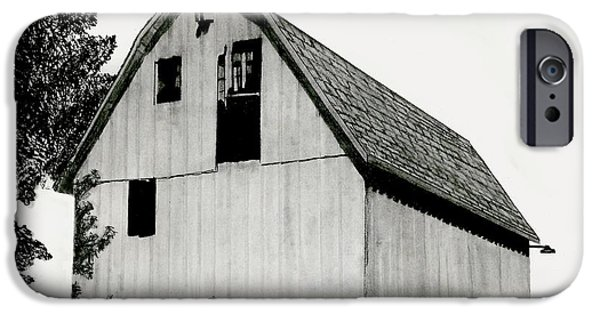 Old Barn Drawing iPhone Cases - Behind The Barn iPhone Case by Todd Spaur