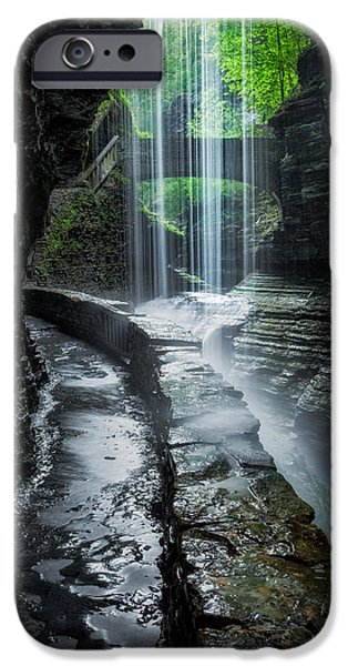 Watkins Glen iPhone Cases - Behind the Falls iPhone Case by Bill  Wakeley