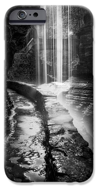 Watkins Glen iPhone Cases - Behind The Falls Black And White iPhone Case by Bill  Wakeley