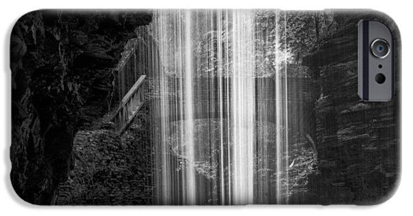 Watkins Glen iPhone Cases - Behind The Falls Black And White Square iPhone Case by Bill  Wakeley