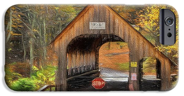 Covered Bridge Mixed Media iPhone Cases - Behind The Gate iPhone Case by Deborah Benoit