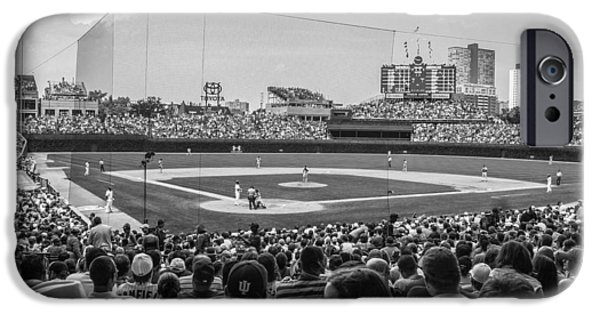 Wrigley iPhone Cases - Behind the plate Black and White  Wrigley  iPhone Case by John McGraw