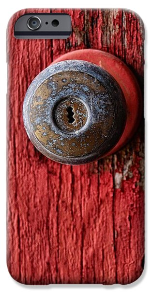 Close Up Pastels iPhone Cases - Behind The Red Door iPhone Case by Tom Druin