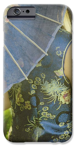 Chinese Woman iPhone Cases - Behind the Umbrella iPhone Case by Margie Hurwich