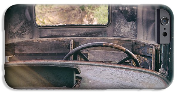 Old Truck iPhone Cases - Behind the Wheel iPhone Case by Peter Tellone