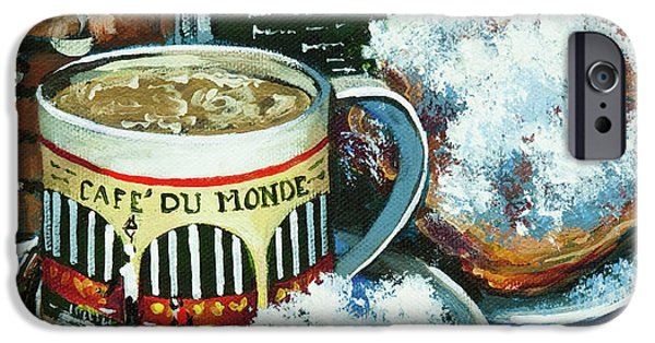 French Quarter Paintings iPhone Cases - Beignets and Cafe au Lait iPhone Case by Dianne Parks