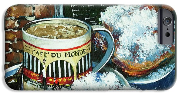 Cafe Au Lait iPhone Cases - Beignets and Cafe au Lait iPhone Case by Dianne Parks