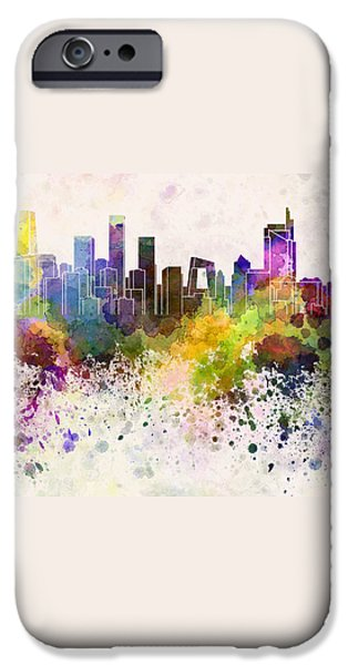 Beijing skyline in watercolor background iPhone Case by Pablo Romero