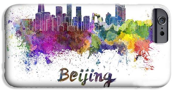 Beijing iPhone Cases - Beijing skyline in watercolor iPhone Case by Pablo Romero