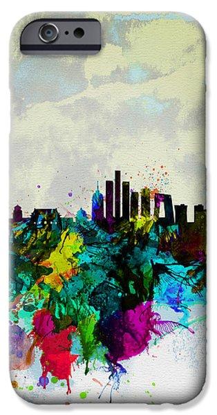 Panoramic Digital iPhone Cases - Beijing Watercolor Skyline iPhone Case by Naxart Studio