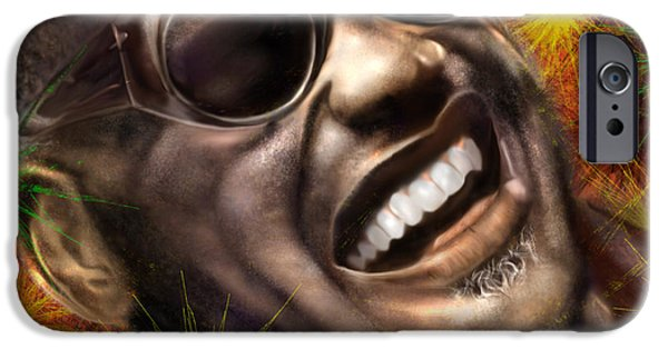 Super Stars iPhone Cases - Being Ray Charles1 iPhone Case by Reggie Duffie