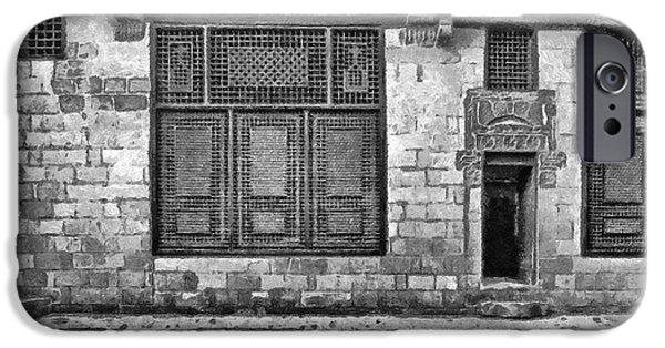 Surreal Landscape Drawings iPhone Cases - Beit El Harrawi II iPhone Case by George Rossidis