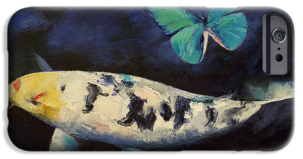 Butterfly Koi iPhone Cases - Bekko Koi and Butterfly iPhone Case by Michael Creese