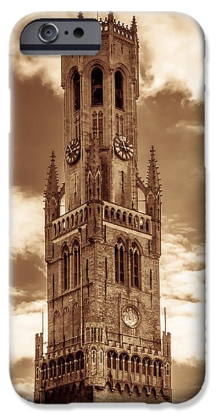 Brown Toned Art iPhone Cases - Belfry Tower of Bruges iPhone Case by Wim Lanclus