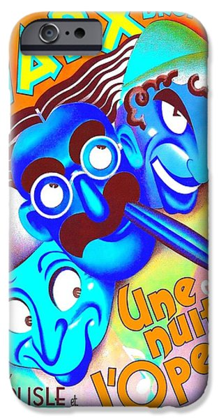 At Poster Mixed Media iPhone Cases - Belgian poster of A Night at the Opera iPhone Case by Art Cinema Gallery