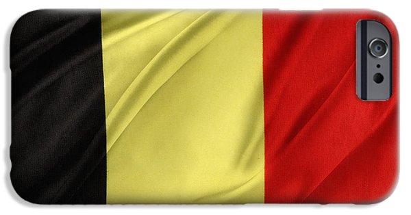 Textile Photographs iPhone Cases - Belgium flag iPhone Case by Les Cunliffe