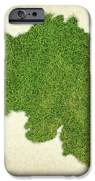 Belgium Grass Map iPhone Case by Aged Pixel