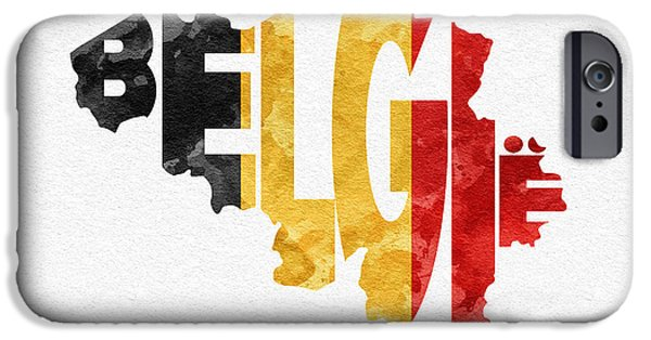 Original Watercolor iPhone Cases - Belgium Typographic Map Flag iPhone Case by Ayse Deniz