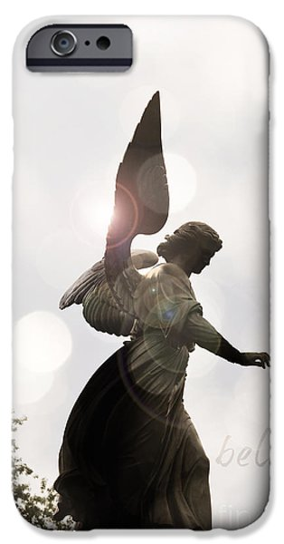 Miracle Mixed Media iPhone Cases - Believe in Angels iPhone Case by AdSpice Studios