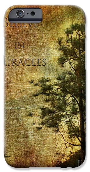 Miracle iPhone Cases - Believe In Miracles - with text iPhone Case by Claudia  Ellis