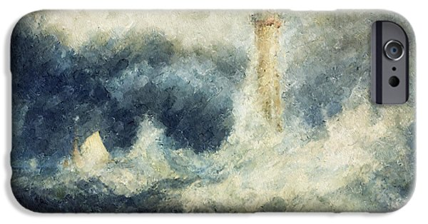 Lighthouse Mixed Media iPhone Cases - Bell Rock Light House Abstract iPhone Case by Georgiana Romanovna