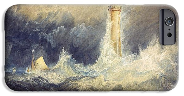 Lighthouse iPhone Cases - Bell Rock Lighthouse iPhone Case by JMW Turner