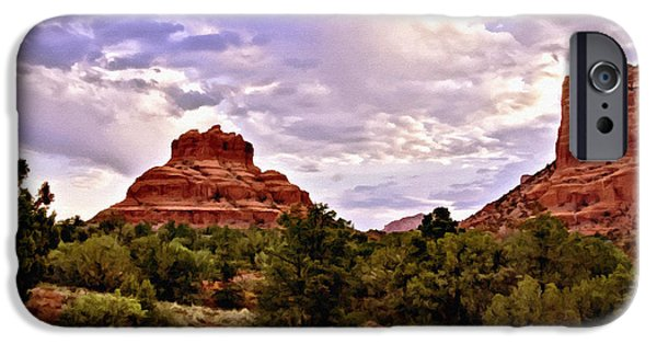 Cathedral Rock Mixed Media iPhone Cases - Bell Rock Vortex Painting iPhone Case by  Bob and Nadine Johnston