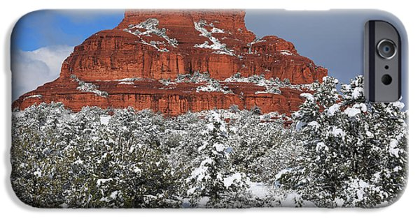 Sedona iPhone Cases - Bell Rock With Snow iPhone Case by Donna Kennedy
