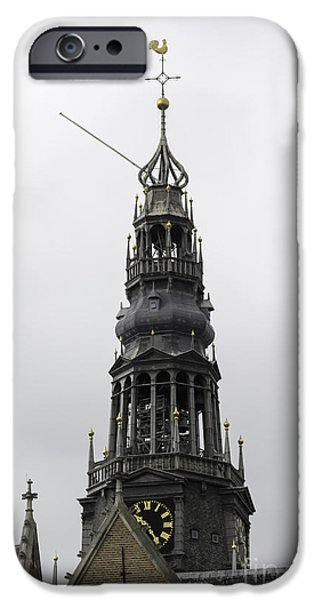 Weathervane Photographs iPhone Cases - Bell Tower at Oude Kerk Amsterdam iPhone Case by Teresa Mucha