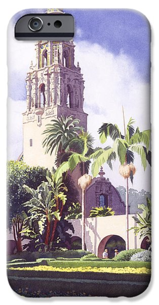 Balboa iPhone Cases - Bell Tower in Balboa Park iPhone Case by Mary Helmreich