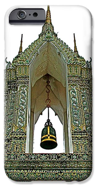 Buddhist iPhone Cases - Bell Tower in Wat Po in Bangkok-Thailand iPhone Case by Ruth Hager