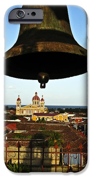 Tile Roofs iPhone Cases - Bell Tower View Granada Nicaragua iPhone Case by Kurt Van Wagner