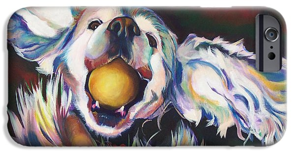Dog With Ball iPhone Cases - Bella iPhone Case by Adele Castillo