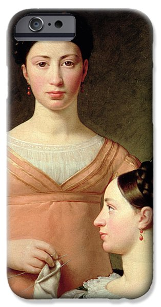 Sisters iPhone Cases - Bella And Hanna Nathansson Oil On Canvas iPhone Case by Christoffer-Wilhelm Eckersberg