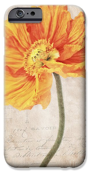 Flora Mixed Media iPhone Cases - Bella orange iPhone Case by Angela Doelling AD DESIGN Photo and PhotoArt