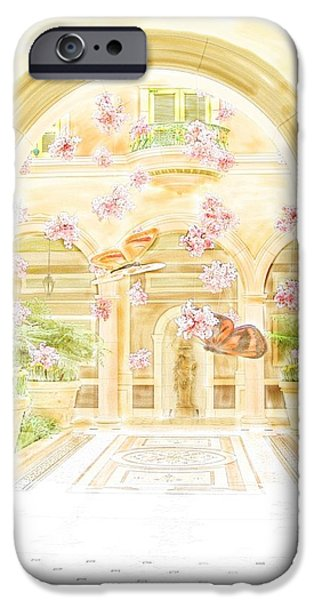 Hightower iPhone Cases - Bellagio Courtyard with Butterflies iPhone Case by Tim Hightower