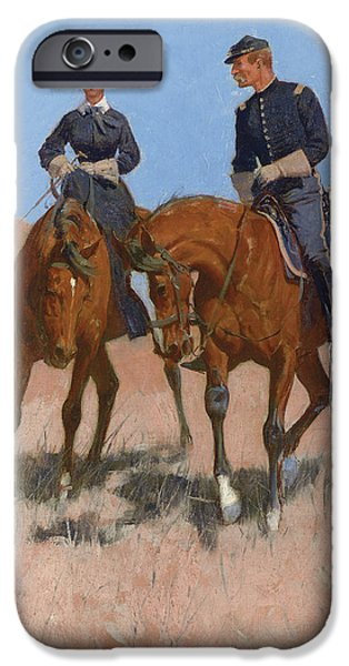 Women Together iPhone Cases - Belle McKeever and Lt Edgar Wheelock iPhone Case by Frederic Remington