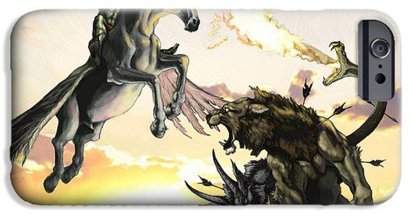 Mythology iPhone Cases - Bellephron Slays Chimera iPhone Case by Matt Kedzierski