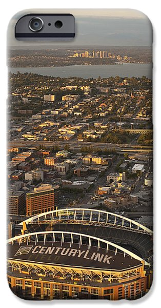 Local Attraction iPhone Cases - Bellevue Skyline And Century Link iPhone Case by Jim Corwin
