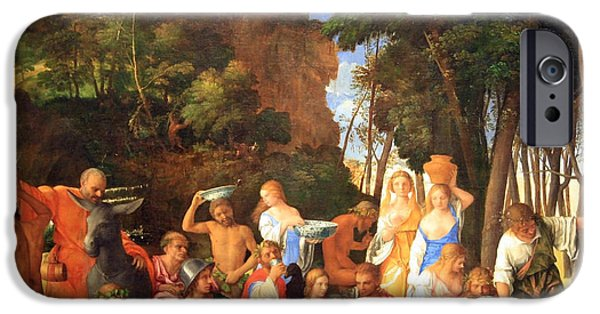 Cora Wandel iPhone Cases - Bellinis Titians The Feast Of The Gods iPhone Case by Cora Wandel