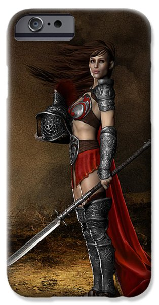 Figures iPhone Cases - Bellona Goddess of War iPhone Case by Shanina Conway