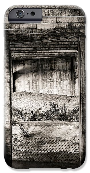 Dirty iPhone Cases - Below The Bridge Monochrome iPhone Case by Wim Lanclus