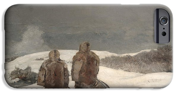 Winter Storm Paintings iPhone Cases - Below Zero iPhone Case by Winslow Homer