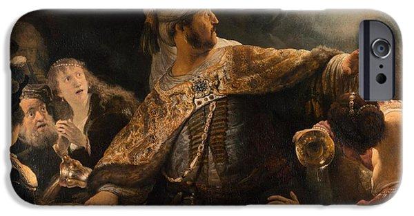 Belshazzar iPhone Cases - Belshazzars Feast iPhone Case by Rembrandt van Rijn