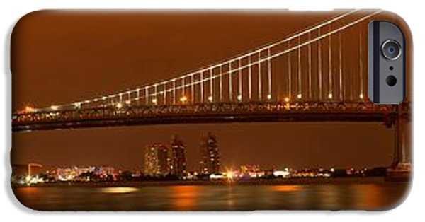 Franklin iPhone Cases - Ben Franklin Bridge Giant Panorama iPhone Case by Adam Jewell