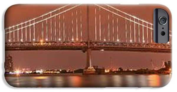 Franklin iPhone Cases - Ben Franklin Bridge Giant Panorama At Dusk iPhone Case by Adam Jewell