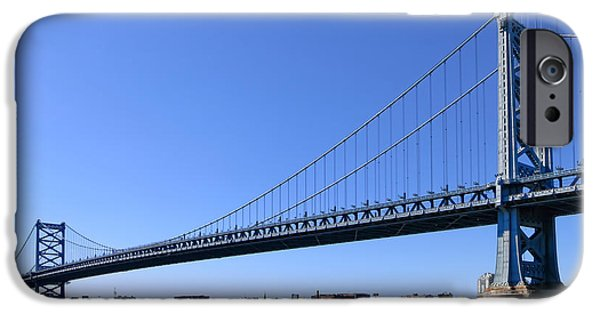 Cable iPhone Cases - Ben Franklin Bridge iPhone Case by Olivier Le Queinec