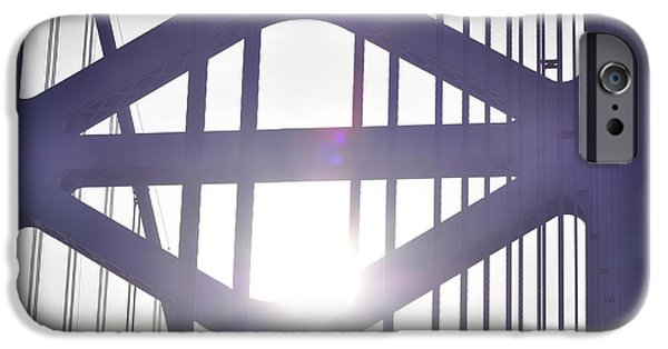 Ben Franklin iPhone Cases - Ben Franklin Bridge Span Tower iPhone Case by Bill Cannon