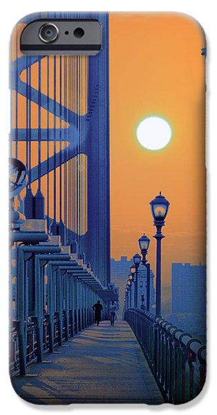 Franklin iPhone Cases - Ben Franklin Bridge Walkway iPhone Case by Bill Cannon