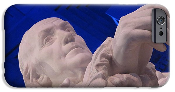 Recently Sold -  - Franklin iPhone Cases - Ben Franklin in Blue I iPhone Case by Richard Reeve